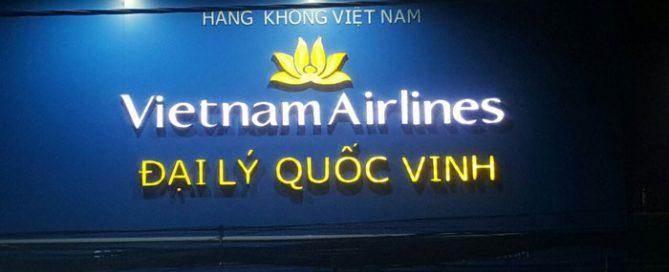 Bảng hiệu alu đẹp cho phòng vé máy bay